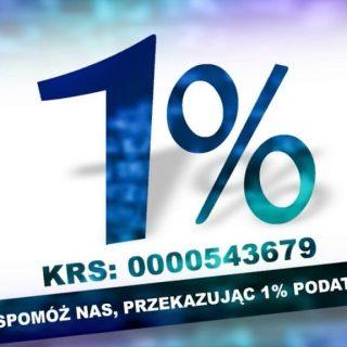 Grafika zachęcająca do przekazania 1% dla Fundacji FONIS. Na niej numer KRS 0000543679