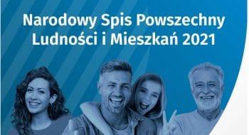 Rodzina na niebieskim tle z napisem Narodowy Spis Powszechny Ludności i Mieszkań 2021
