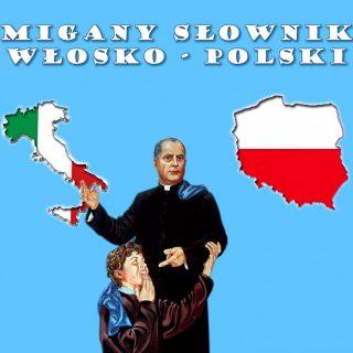 Święty Filip Smaldone z niesłyszącym chłopcem między konturami Włoch i Polski wypełnionymi barwami narodowymi. Nad nimi napis Migany Słownik Włosko-Polski