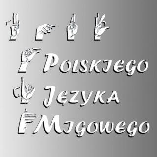 Migające dłonie i litery na szarym tle tworzą napis Kurs Polskiego Języka Migowego