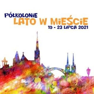 """plakat przedstawiający kontur Wrocławia, a nad nim napis """"Lato w mieście 2021:"""
