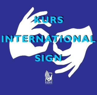 Dwie migające dłonie na niebieskim tle, napis kurs international sign