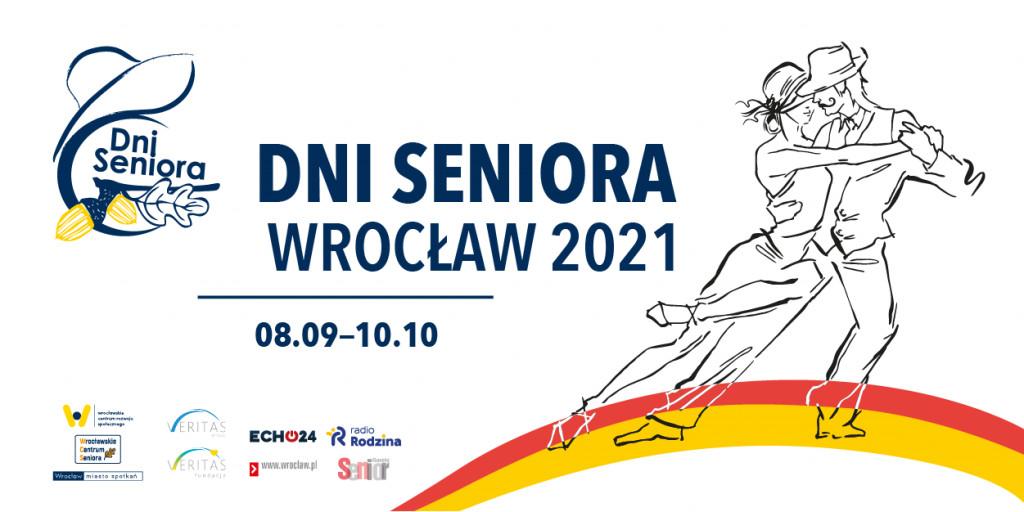Plakat DNI SENIORA - Wrocław 2021, na nim szkic tańczącej pary i napisy